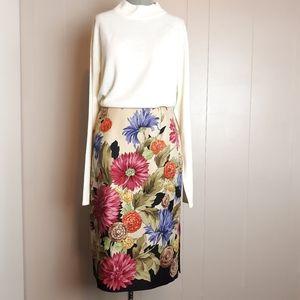 Vintage silk wool fall floral pencil skirt
